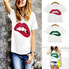New Fashion Sequins Lip Print Short Sleeve Casual Women T Shirts White Green Top