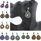 Fashion Jewelry Retro Womens Crystal Waterdrop Ear Clip Cuff Earrings Stud Charm