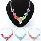 Women Fashion Crystal Charm Chain Chunky Statement Bib Necklace Pendant Jewelry