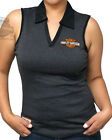 Harley-Davidson Ladies Trademark B&S Charcoal Grey Contrast Trim Sleeveless Polo