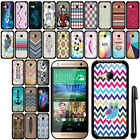 For HTC One Remix One Mini 2 SLIM FIT PATTERN HARD Case Back Phone Cover + Pen