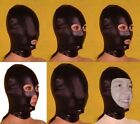 Various Black Spandex With Latex Hood Full Mask 6 Styles For Choice Club Wear