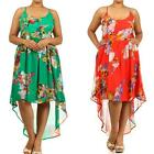 D12 - 1XL 2XL 3XL Plus Size Hi Low Floral Chiffon Spring Summer Dress Green Red