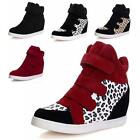 Women Boots High Top Wedge Heel Tennis Flats Shoes Velcro Sneakers Newest Style