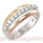 Yellow, White & Rose Gold Plated Sterling Silver CubicZirconia Eternity Ring