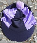Riding Hat Silk Skull cap Cover NAVY BLUE & LILAC With OR w/o Pompom