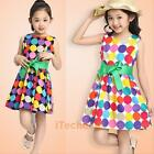 Baby Kids Girls Dress Princess Party Bow Belt Round Circle Dress Clothes 1-6Y