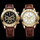 OUYAWEI Black White Day Date Brown Genuine Leather Band Mens Automatic Watch