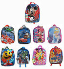 "Boys Girls 15"" Backpack Book Bag Spiderman Sofia Doc McStuffins Mickey Jake Cars"