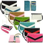 caseen Wallet Clutch Wrist Strap Case Cover for Virgin Mobile Smart Cell Phone