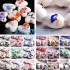 New 10pcs Flower Patterns Ceramic Porcelain Charms Loose Spacer Beads 92 Styles
