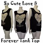 Cool T Love Forever Paris w/Flower Heart Tank Top Shirt Soft Rayon S/M/L Bk