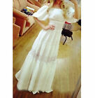 Womens Renaissance Medieval Costume Vintage Elegent White Under Dress Maxi Dress