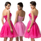New Stock Beaded Short Evening Ball Gown Party Prom Bridesmaid Dress Size 6-20