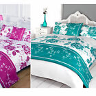 Floral 5pc Bed in a Bag Set - White Satin Duvet Cover Complete Bedding Bed Sets