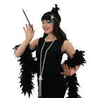 LADIES FLAPPER GIRL COSTUME DRESS,BOA,HEADBAND,NECKLACE & CIGARETTE HOLDER 1920S