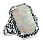 WHITE LAB OPAL .925 STERLING ANTIQUE DESIGN ART DECO SILVER RING,     #764