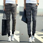 Fashion Mens Korean Stylish Casual Long Plaid Pants Loose Pencil Trousers