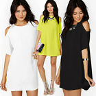 Occident Womens Summer Off Shoulder Short Sleeve Chiffon Mini Dress Loose Tops