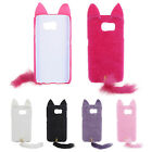 3D Cute Fluffy Tail Cat PC Back Shell Brushy Case Cover For Samsung Galaxy S6