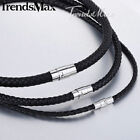 "4/6/8mm 14-40"" Boys Mens Chain Black Braided Cord Rope Man-made Leather Necklace"