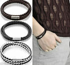 Fashion Retro Multilayer Leather Wristband Bracelet Cuff Charm Bangle Men Women