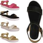 Womens Ladies New Gladiator Ankle Strap Low Heel Flat Sandals Shoes Size Uk 3-8