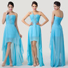 One Shoulder Sky Blue Wedding Bridesmaid Cocktail Evening Party Prom Dresses NEW