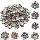 Wholesale 50/100Pcs Crystal Rhinestone Silver Plated Rondelle Spacer Loose Beads