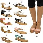 WOMENS LADIES FLAT ANKLE STRAP GLADIATOR SUMMER FLIP FLOP SANDALS SIZE UK 3-8