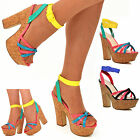 Ladies Demi Wedge Platform Sandals High Heel Strappy Shoes Multicolour Neon Size