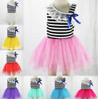 Infant Baby Girl Toddler Pageant Tutu Lace Bow Stripe Princess Party Dress 0-24M