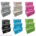 3pc Piece Folding Storage Unit Stackable Organiser Box Room Tidy Chest Lid