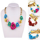 color Flower jewelry Gold pendant Chain Pearl Bib Statement Chunky Necklaces