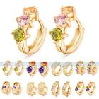 Sparkling 2/3/4 Crystals Colorful Rhinestone 18K Gold Filled Hoop Earrings Gift