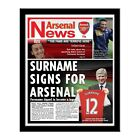 Personalised Arsenal FC Football Club Newspaper Your Name on the Shirt