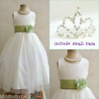 Adorable Ivory/sage green wedding flower girl dress FREE SMALL TIARA all sizes