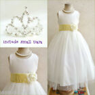 Adorable Ivory/canary/light y flower girl dress FREE SMALL TIARA all sizes