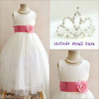 Adorable Ivory/coral wedding flower girl party dress FREE SMALL TIARA all sizes