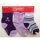 3 PAIR Socks ESPRIT 3pk Infant Baby Toddler Girl Size 0-6 / 6-12 / 12-18 Month P