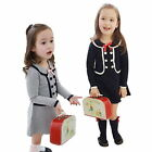 Sweet Kids Girls Long Sleeve Button Dress Cotton Preppy School Lapel Bows 1pc