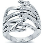 925 Sterling Silver Abstract Design Evening Glamour Woman's Fancy Ring Size 3-11