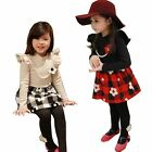 Girls Party Lovely Plaid Flower Pearl Free Necklace Tutu Dress 2-7Y Kids Clothes