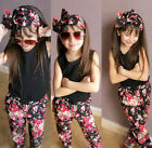 3pcs Toddler Kids Girl Clothes Headband, T-shirt, Floral Pants Set Summer Outfit