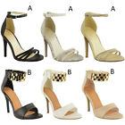 WOMENS STILETTO ANKLE CUFF STRAP LADIES HIGH HEEL STRAPPY SANDALS PEEP TOE SHOES