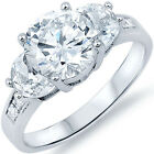 Sterling Silver Clear 3 Stone CZ Promise Wedding Engagement Love Ring Size 3-11
