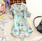 Hot Summer Women Casual Loose Blouse Top Chiffon V-neck T-Shirt Flower Printed