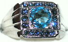Men's Genuine Blue Topaz & Sapphire Stainless Steel Ring ** R4 ** Exclusive