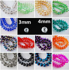 100pcs 3mm/4mm Rondelle Faceted Crystal Glass Loose Spacer Beads Lot 60 Colors