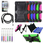 Phone Case For ZTE Lever LTE Rugged Cover Stand Holster USB Charger Film Stylus